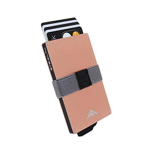 STEALTH Wallet - Minimalistischer RFID-Blocker aus Aluminium mit Pop-up-Kreditkarte und Geldhalter mit Geschenkbox - Schlanke und leichte Ejector-Geldbörse mit berührungslosem Kartenschutz (Roségold)