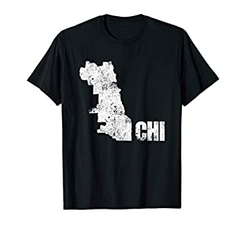 Chicago Distressed Map Chicago City Pride Chi Town T-Shirt