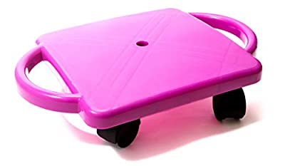 """Educational Manual Plastic Scooter Board with Safety Handles   16"""" x 11"""" inches  Perfect for Kids, Teens, Adults   PE, Gym Class, Daycare, Preschool Development, Games, Camps (Purple)"""