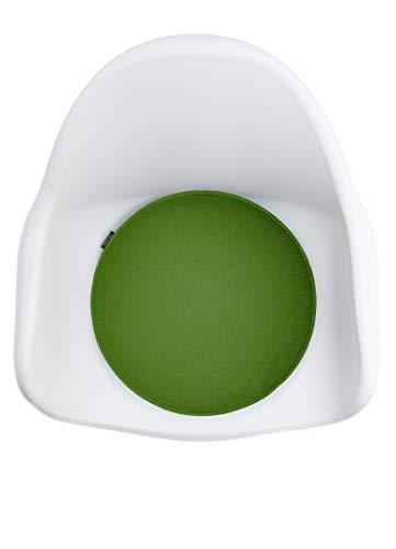 Ampara - 4er Set - Edle Stuhlkissen rund 40cm - rutschfest & gemütlich, Stuhlauflage rund aus Filz, Grün