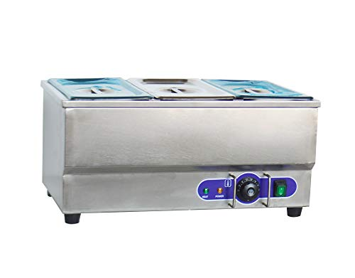 110v 3-Pot Electric Commercial Bain-Marie Buffet Food Sause Desktop Warmer
