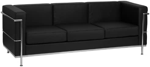 Best Flash Furniture HERCULES Regal Series Contemporary Black Leather Sofa with Encasing Frame