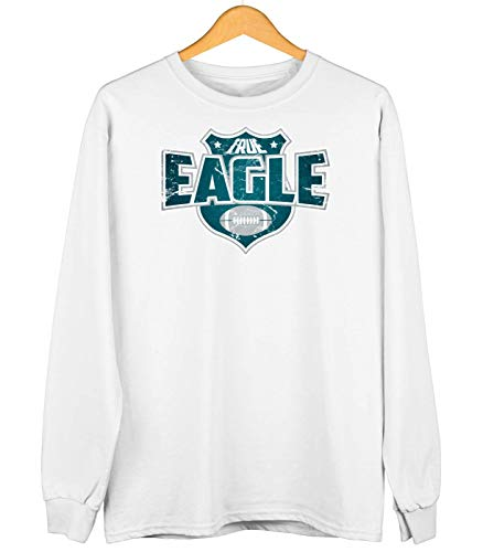 True Eagle American Football Philadelphia The Birds Super Bowl Sweatshirt Kinder Sweater Pullover, Farbe:Weiß (Arctic White JH030k), Größe:7-8 Jahre (128)