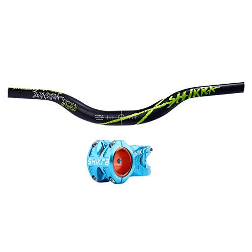 SM SunniMix Barra Elevadora de Bicicleta de Montaña Azul φ31.8mm Vástago Piñón Fijo MTB BMX Manillar de Gran Altura