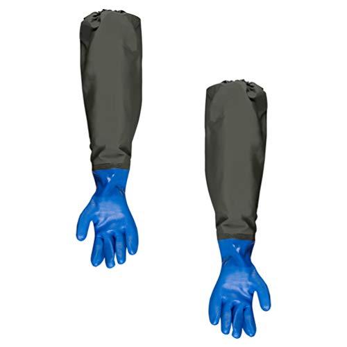 POPETPOP 1 Pair of Aquarium Gloves Long Waterproof Rubber Gloves Keep Hands and Arms Dry Elastic Cuff Gloves Aquarium Water Change Tools