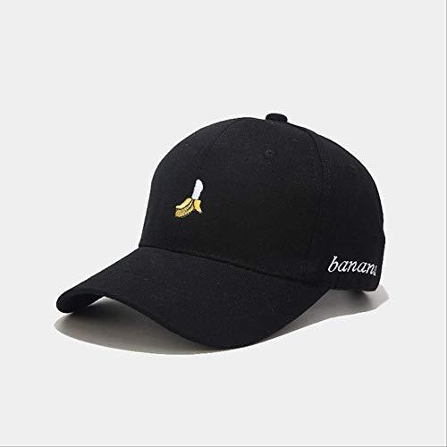 yaheihei Stil Baumwolle Banane Stickerei Baseball Cap verstellbare Snapback Hüte für Männer und Frauen verstellbar schwarz