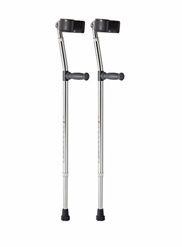Medline MDS805161 Aluminum Forearm Crutches, Adult, Pack of 2