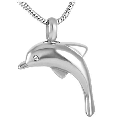 Wxcvz Collar De Urna De Cremación Recuerdo Funerario para Mascotas Barato Collar De Urna Conmemorativa De Delfines De Acero Inoxidable Soporte Colgante Joyería De Cremación para Cenizas