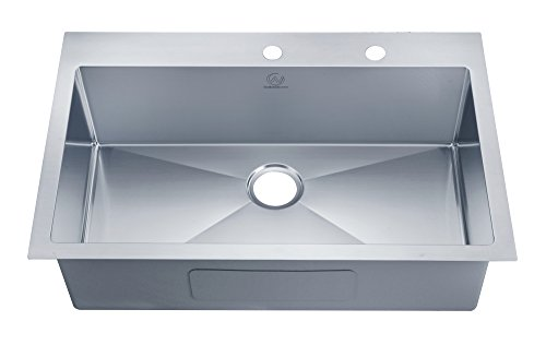 """Stufurhome NW-3322SO Over Mount Stainless Steel 2-Hole Single Bowl Kitchen Sink, 33"""", Satin"""