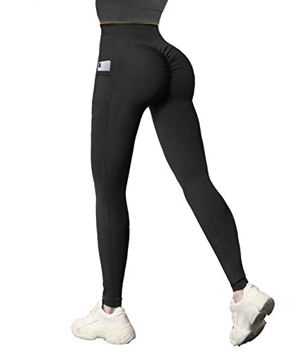 COMFREE Damen Scrunch Butt Lifting Leggings mit Handytasche Push Up Booty Sportleggings Hohe Taille Sport Yoga Leggings Jogginghose Black Friday Angebote Thankgiving Day