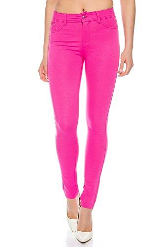Crazy Age Damenhose Jegging Basic Classic Hüfthose 5 Pocket für H01 (36, Pink)