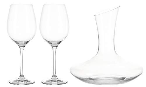 Leonardo Barcelona Rotweinset, 3-teiliges Set, 2 Rotweingläser und 1 Dekanter, Teqton-Kristallglas, 062060