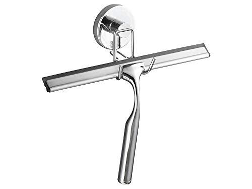WENKO Vacuum-Loc Duschabzieher ohne bohren, Wischer für Bad und Dusche, Wasserschieber mit Vacuum-Befestigung, inkl. Haken zur Wandbefestigung, verchromtes Metall, 25 x 21,5 x 6 cm