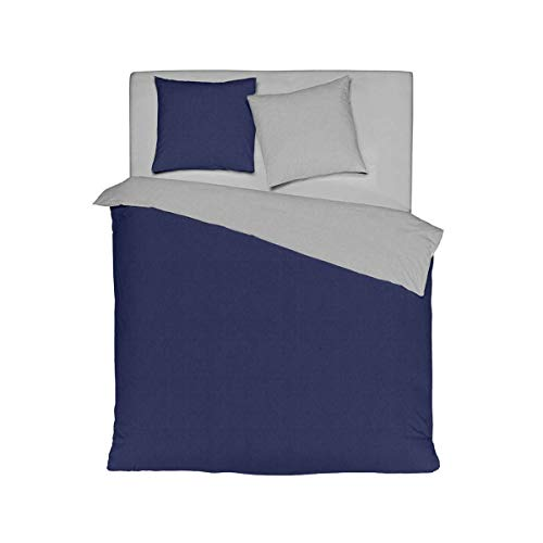 G Bettwarenshop Wendebettwäsche Texture hellgrau-dunkelblau, Pfulmenbezug einzeln 65x100 cm