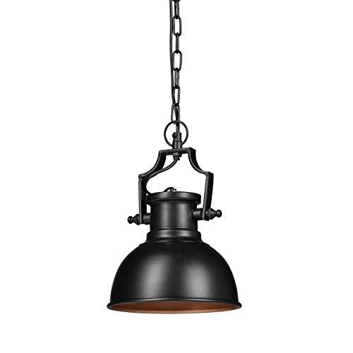 Relaxdays Hängelampe Industrial Style, Retro-Shabby Look, Deko für Esszimmer, LED für E27, Pendelleuchte Ø 21cm, Schwarz