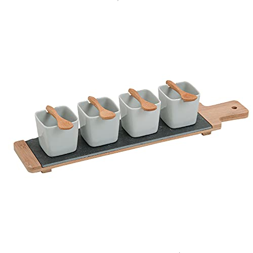 Vorspeisen Schälchen Set auf Bambus Tablett, Teller Set, 9 Teile Set Servier Teller weiß,4 Soufflé Servierschalen Set Tapas Schalen auf Bambusholz, Servierbrett Holz & 4 Dessert Gläser (ECKIG)