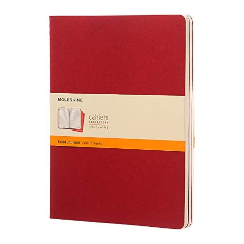 Moleskine Cahier Journal, Set 3 Quaderni con Layout a Righe per Appunti, Copertina a Tinta Unita in Cartoncino e Cucitura a Vista, Colore Rosso Mirtillo, Dimensione Extra Large 19 x 25 cm, 120 Pagine