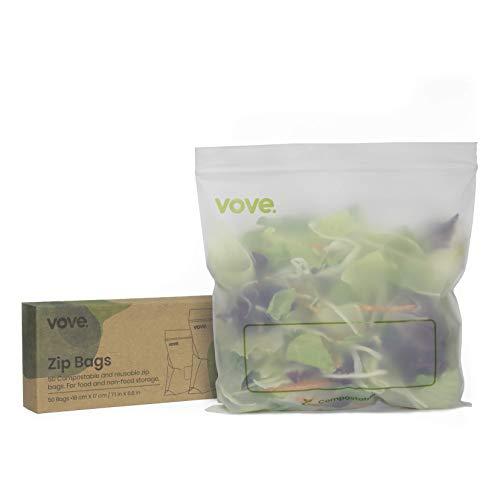 Vove Kompostierbare, biologisch abbaubare Druckverschlussbeutel, 50 Beutel, umweltfreundlich