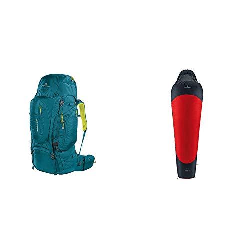 Ferrino Transalp, Zaino da Hiking ed Escursionismo Unisex, Verde, 60 Litri & Yukon Pro, Sacco a pelo Uomo, Rosso Scuro, S