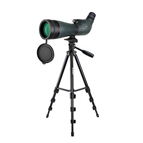 Svbony SV19 Telescopio Terrestre, 20-60x80 Telescopio Terrestre con Trípode; HD Porro Prism FMC Optics Catalejos Impermeables para Tiro al Blanco, Tiro con Arco, Luna