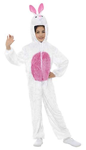 Smiffys-30016 Animal Disfraz de Conejo,Incluye Enterizo con Capucha, Color Blanco, M-Edad 7-9 años (Smiffy'S 30016)