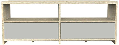 Furniture 247 Zeitgenössische TV-Einheit mit 2 Schubladen - Grau und Sonoma Eiche (Sonoma Oak)