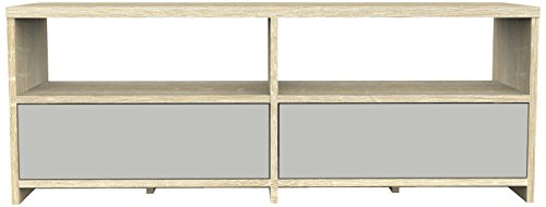 Furniture 247 Meuble TV contemporain 2 tiroirs - Gris et chêne Sonoma