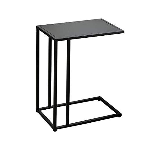 Table d'appoint Accueil table d'appoint canapé café salon ordinateur portable en forme de C métal créatif appartement table de chevet (Color : Black, Size : 48 * 28 * 58cm)
