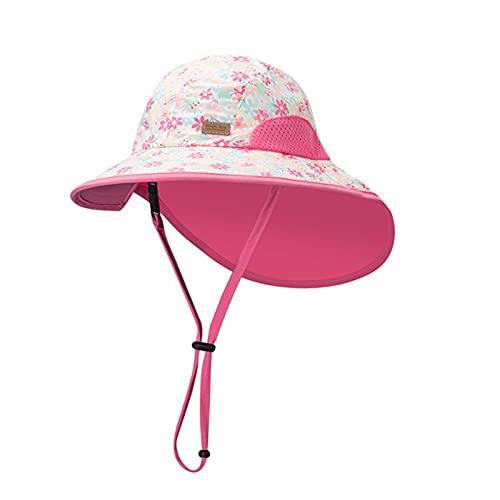 iSunday Sombrero de bebé para niñas verano protección solar sombrero cubo de secado rápido anti-UV Beach Fisherman Caps con correa ajustable para la barbilla patrón de dibujos animados sombreros