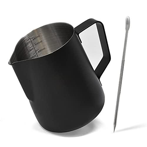 Jarra leche acero inoxidable con bolígrafo Latte Art, jarra espumadora leche con medidas en oz y ml, jarra leche cafetera, jarra para calentar leche negra de 600 ml para café, chocolate y más