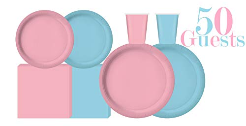 Serves 50 | Complete Party Pack | Light Blue and Light Pink | 9' Dinner Paper Plates | 7' Dessert Paper Plates | 9 oz Cups | 3 Ply Napkins | office parties, birthday parties, festivals, Gender Reveal Party Theme