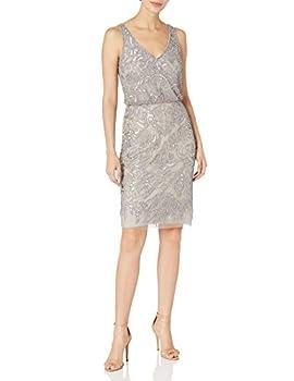 Adrianna Papell Women s Beaded Blouson Sheath Dress Platinum 16
