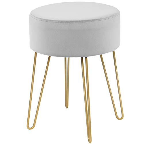 COSTWAY Samthocker mit Metallbeinen, moderner runder Schminkhocker, Polsterhocker bis 100kg belastbar, Fußhocker, Sitzhocker geeignet für Schlafzimmer und Wohnzimmer (Grau)