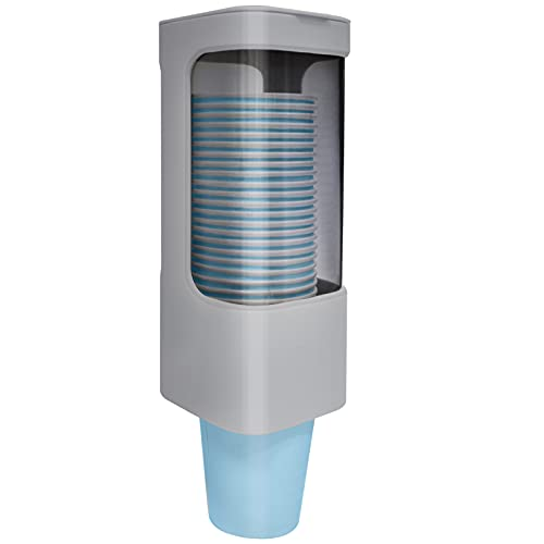 LBTING Water Cooler Cup Dispenser, Pull Type Cup Holder Fit 3oz - 5oz Small Bathroom Disposable Cups, Adhesive Wall Mounted Cup Dispenser - Gray