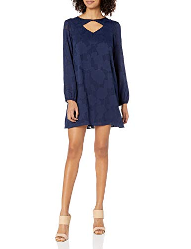 BCBGeneration Women's Long Sleeves Shirt Dress with Cut Out, Dark Navy, XS