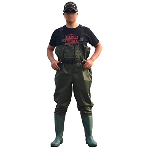 Vadeadores Pecho Pesca Vadeadores de Pecho de Pesca para con Botas Hombre Mujer Caza Bootfoot Impermeable Nylon y PVC con Cinturón de Vadeo (Color : B, Size : 45)