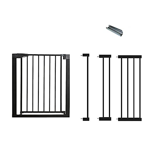 Safety Gate, Metal Baby Gate Guardrail Expandable Baby Pet Safety Gate Auto-Close with Pressure, Ideal for Kids and Pets, Black(Size:124-131cm)