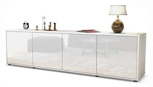Stil.Zeit TV Schrank Lowboard Antonia, Korpus in Weiss matt/Front im Hochglanz-Design Weiß (180x49x35cm), mit Push-to-Open Technik, Made in Germany