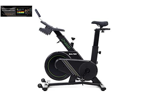 Bicileta ciclo indoor SALTER S-100. Bicicleta estática Ciclo Indoor Spinning. Volante de Inercia 18 kg, Nivel Avanzado, Pantalla LCD, Fitness