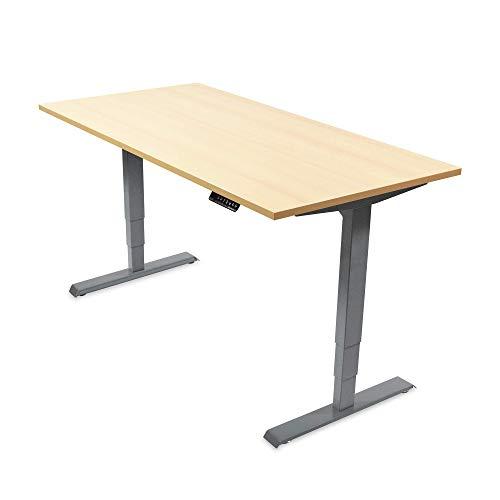 Ergotopia Elektrisch höhenverstellbarer Schreibtisch 5 Jahre Garantie | Ergonomischer Steh-Sitz Tisch mit Memory Funktion | Beugt Rückenschmerzen vor & Macht produktiver (160x80, Ahorn, G)