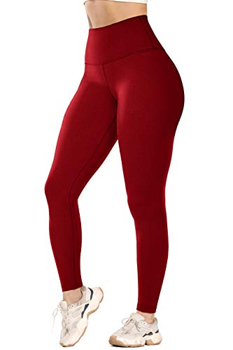 YOFIT Essential High Waist Buttery Soft Brushed Workouts Leggings for Women Tummy Control Waist Naked Feeling Tight Yoga Pants Red M