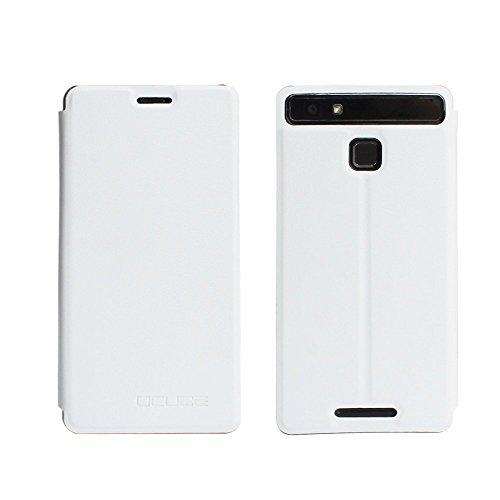 Tasche für Vernee Thor E Hülle, Ycloud PU Ledertasche Metal Smartphone Flip Cover Case Handyhülle mit Stand Function Weiß