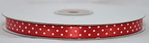 No brand Nastro Doppio Raso a Pois Rosso 10 mm x 50 mt