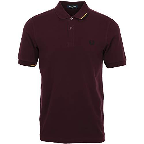 Fred Perry Asymmetric Tipped Polo Shirt, Rojo (Mahogany 799), S para Hombre