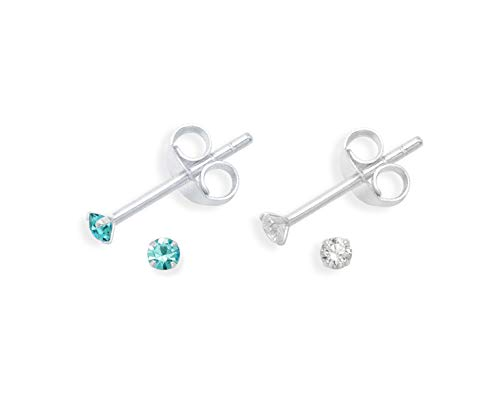Set of 2 PAIRS Sterling Silver Turquoise Cubic Zirconia Earrings - SIZE: TINY 2mm - Very Small & discreet - Turquoise & Clear 5549TQZ/SET