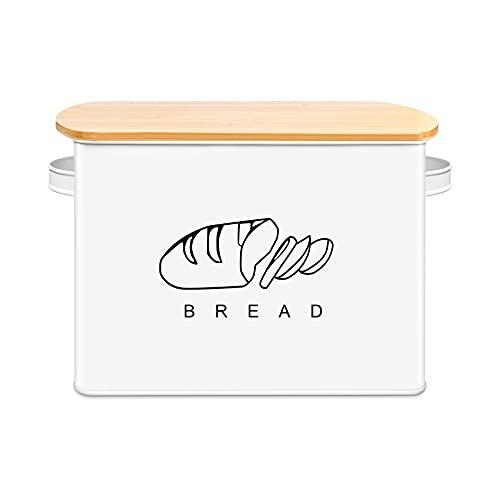 Nosavu Extra Großer Brotkasten, Brotbox mit Bambus Deckel, 33 x 23 x 18 cm, Metall Brotaufbewahrung für Noch Länger Frisches Brot (Weiß)
