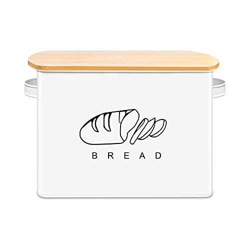 Extra Large Farmhouse Bread Box for Kitchen Countertop - Bread Storage Holds 2+ Full Loaves Of Bread - Oversized Metal Container to Keep Bread, Cookies, Bagels and Rolls Fresh for A Long Time (White)