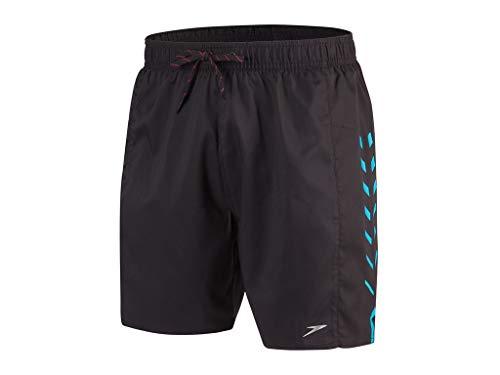 Speedo Herren Sport mit Aufdruck 16 Zoll Bade-Shorts, Schwarz/Windsor-Blau, M