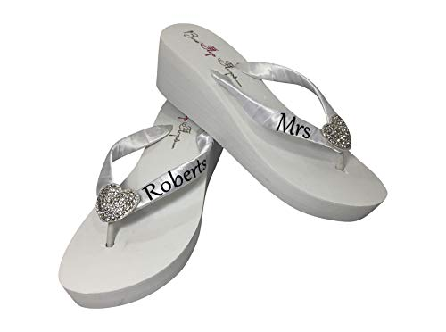 Heart Wedge Customizable Wedding Flip Flops for the Bride in Ivory or White