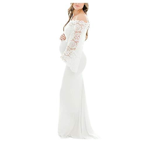 Ucoolcc Umstandskleid Schwanger Elegante Fotografie Stützen Fotografie Lange Brautkleid Maxi Umstandskleid Kleid Abendkleid Damen Schulterfrei Kleider